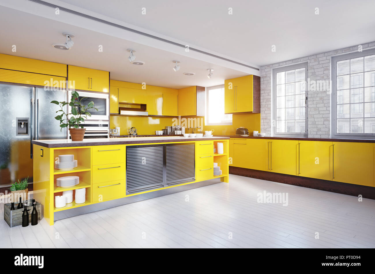 Modern Yellow Color Kitchen Interior 3d Rendering Design Concept