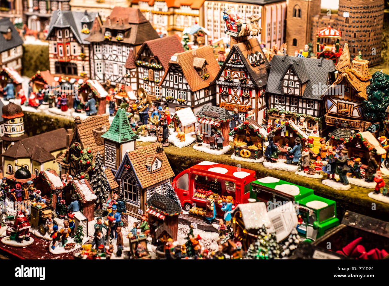 Traditional souvenirs and toys like smal model houses at european