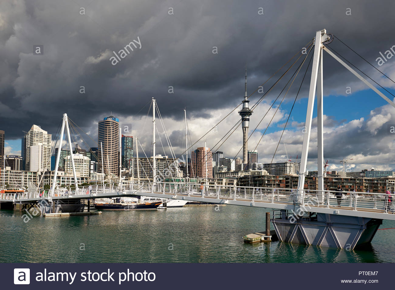 Auckland New Zealand. The skyline from Viaduct Harbour - Stock Image