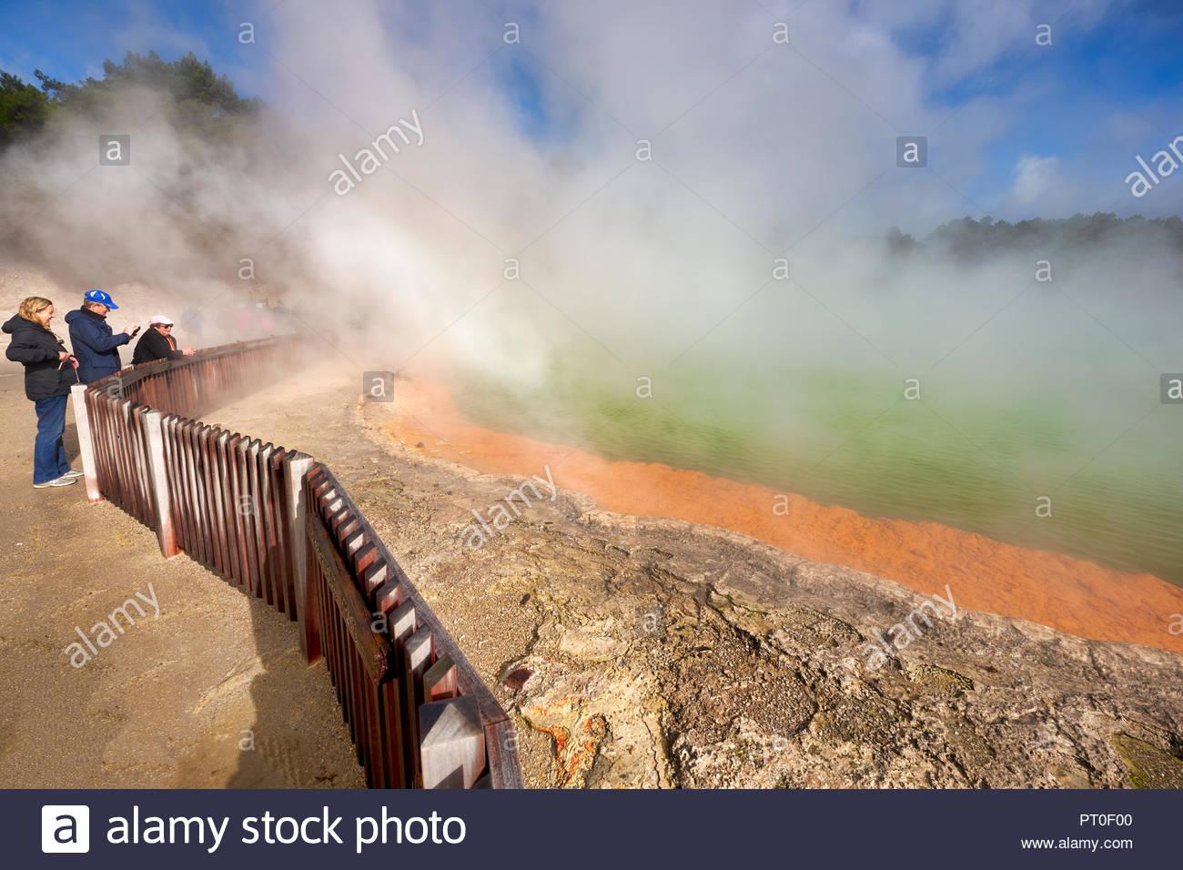 Wai O Tapu geothermal area. Rotorua New Zealand. The Champagne Pool - Stock Image