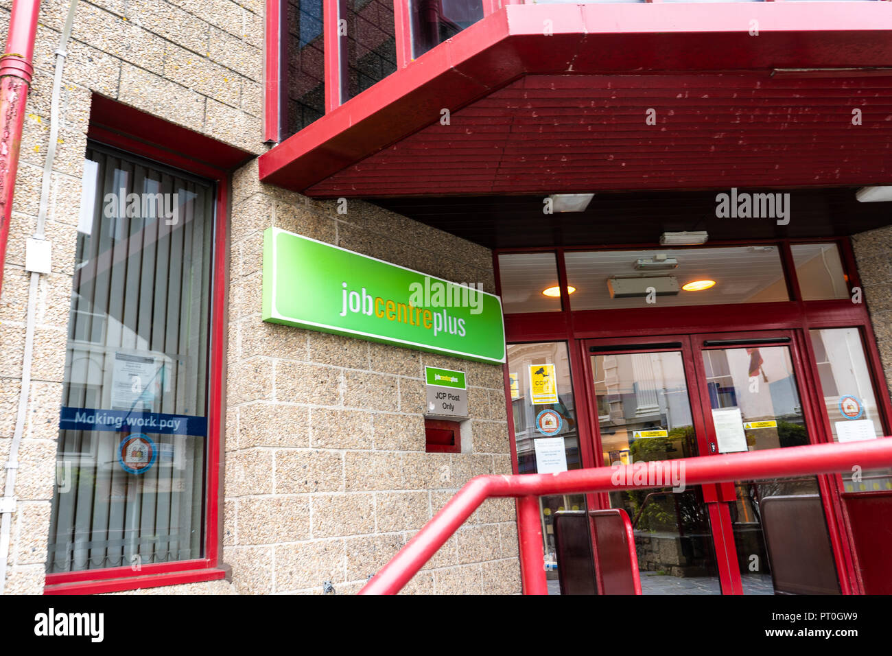 Job centre plus in the highstreet of Penzance, Cornwall - England Stock Photo