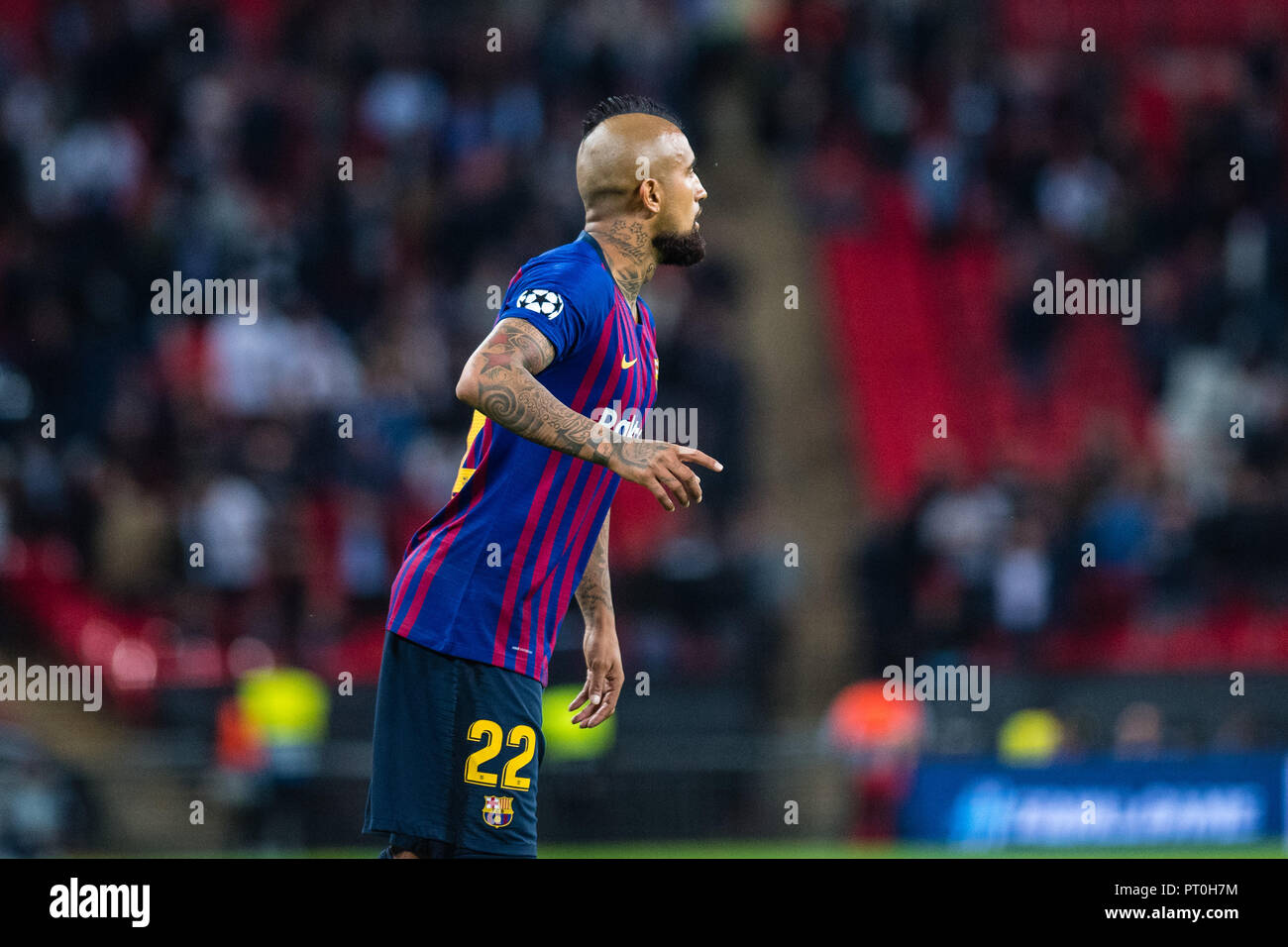 FC Barcelona with Lionel Messi at Wembley stadium during the match vs Tottenham Hotspur. - Stock Image