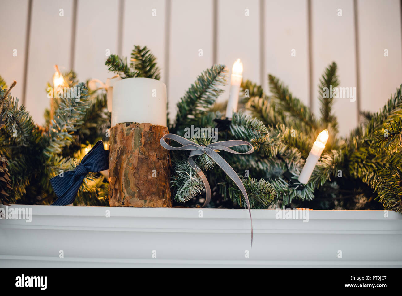 Christmas Fireplace Xmas Lights Decoration Tree Branches Candles