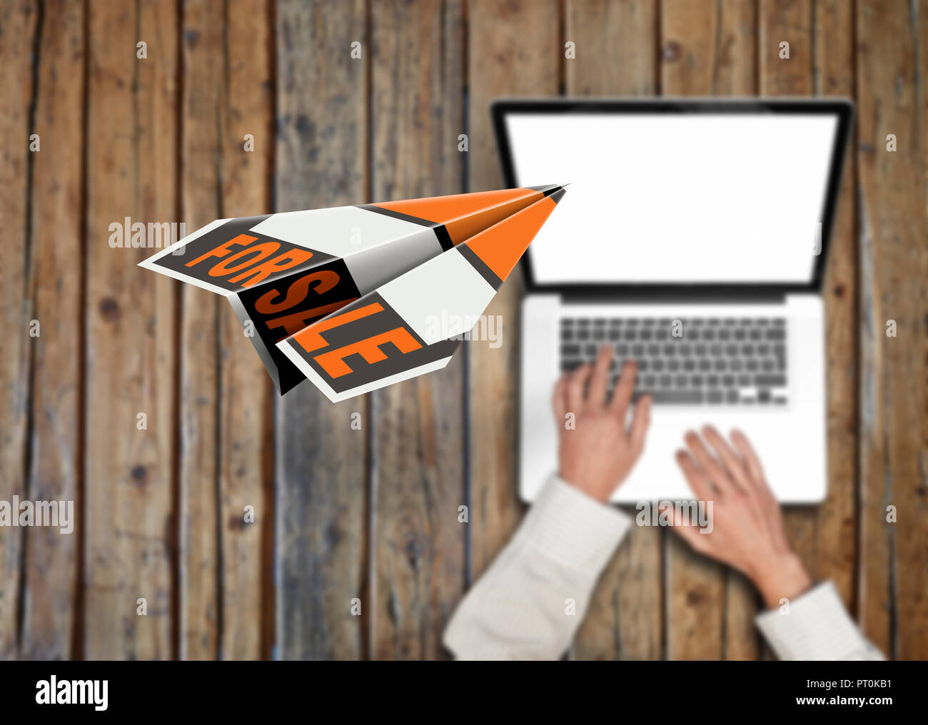 flying paper plane with the words for sale and businessman wearing a