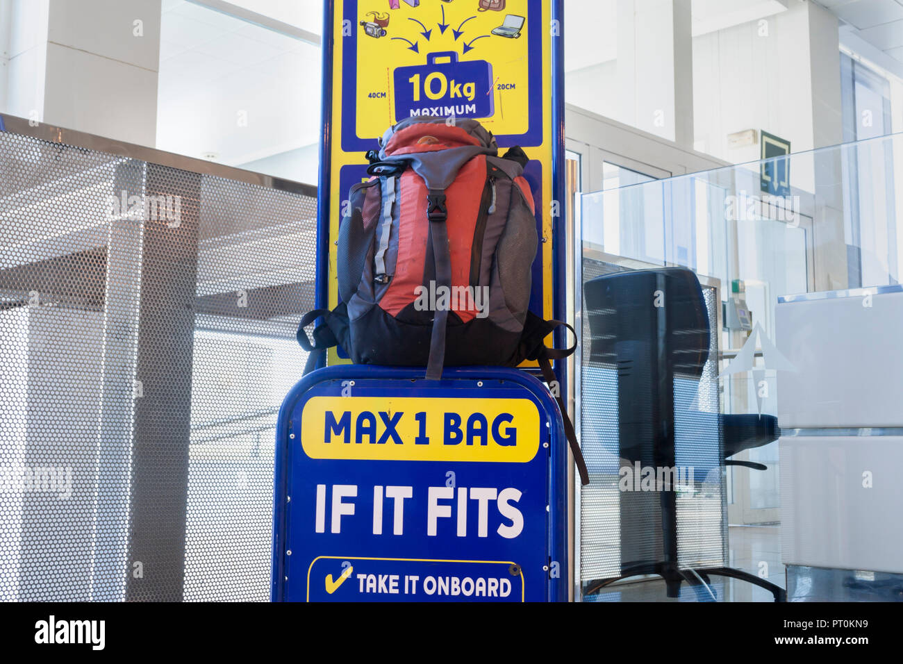 Ryanair hand luggage/baggage size checker. - Stock Image