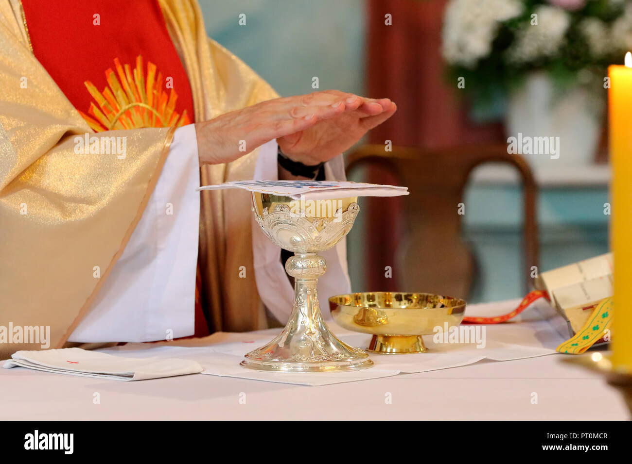 Priest Celebrate Mass At The Church And Empty Place For Text Stock