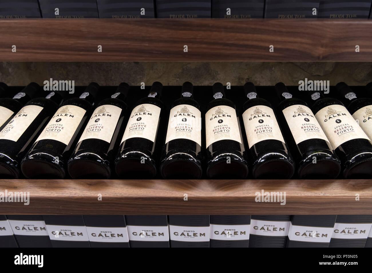 Special reserve port wine on sale at the store in the Porto Calem Wine Lodge, Vila Nova de Gaia, Porto, Portugal - Stock Image