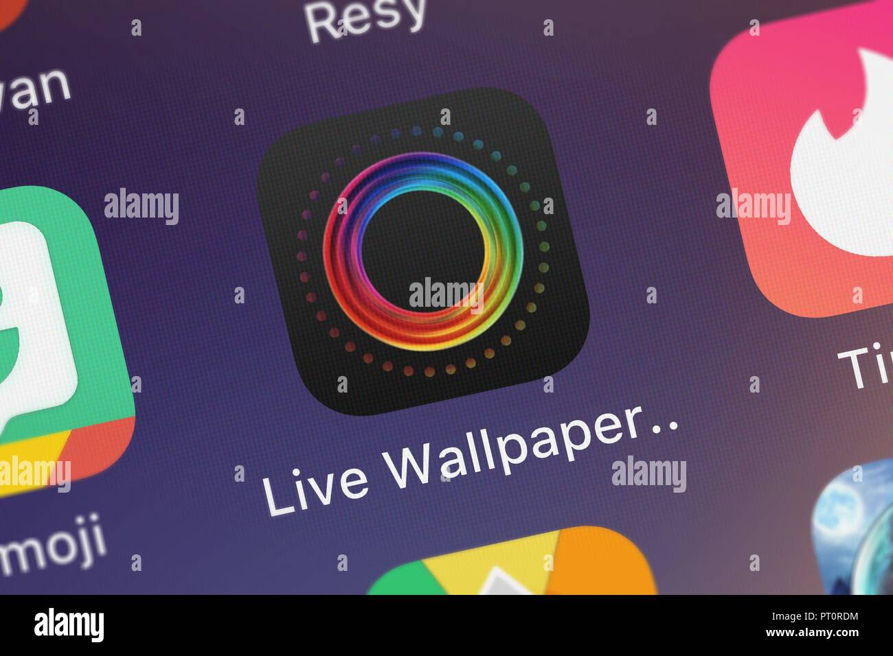 London, United Kingdom - October 05, 2018: Screenshot of the Live Wallpapers for Me. mobile app from Apalon Apps icon on an iPhone.