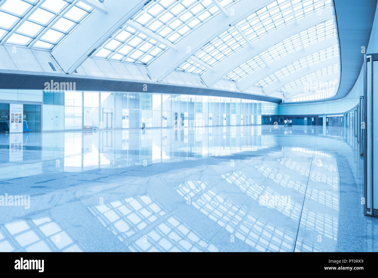 interior of the modern mall of beijin airport subway station Stock Photo
