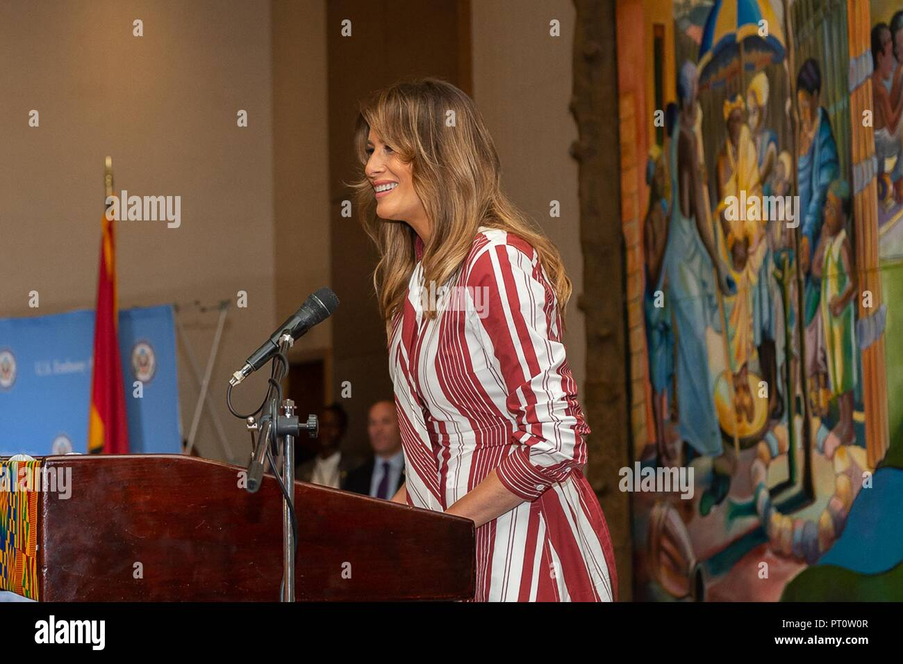 U.S First Lady Melania Trump speaks during a U.S. Embassy Ghana employee meet and greet at the Movenpick Ambassador Hotel October 2, 2018 in Accra, Ghana. This is the first solo international trip by the First Lady. - Stock Image
