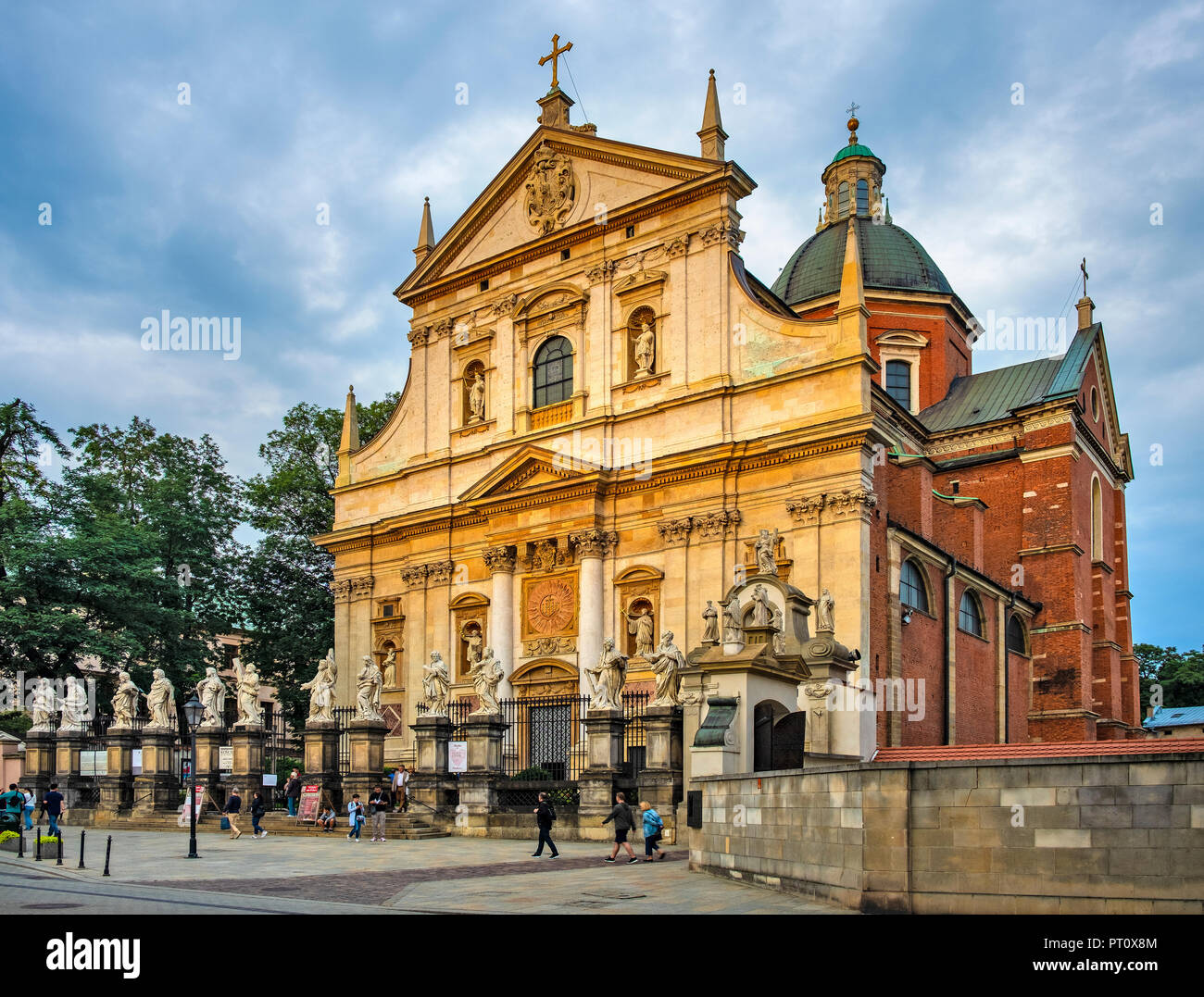 Krakow, Lesser Poland / Poland - 2018/09/08: Cracow Old Town, facade of the St. Peter and Paul church at the Grodzka street - Stock Image