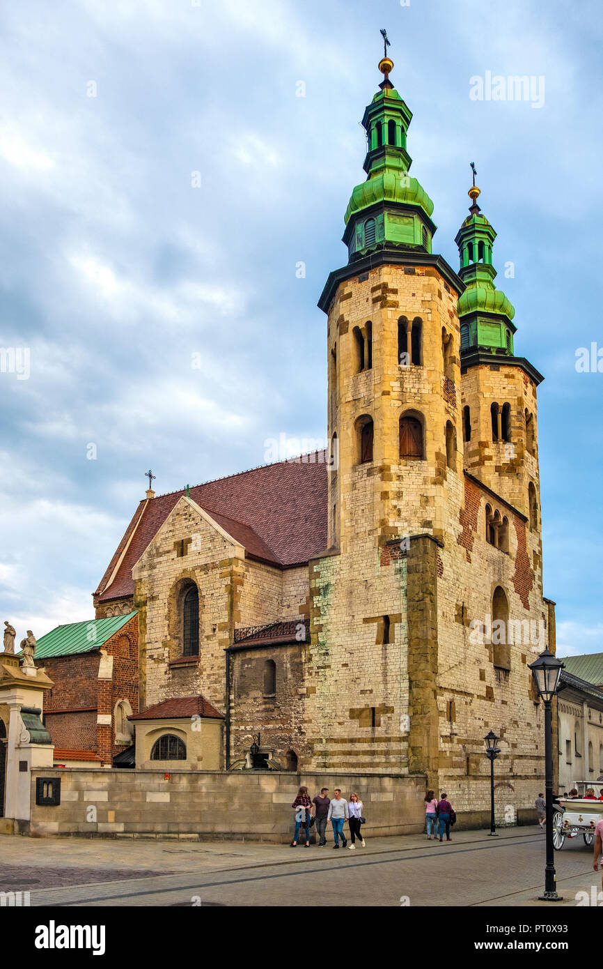 Krakow, Lesser Poland / Poland - 2018/09/08: Cracow Old Town, facade of the St. Andrew church at the Grodzka street - Stock Image