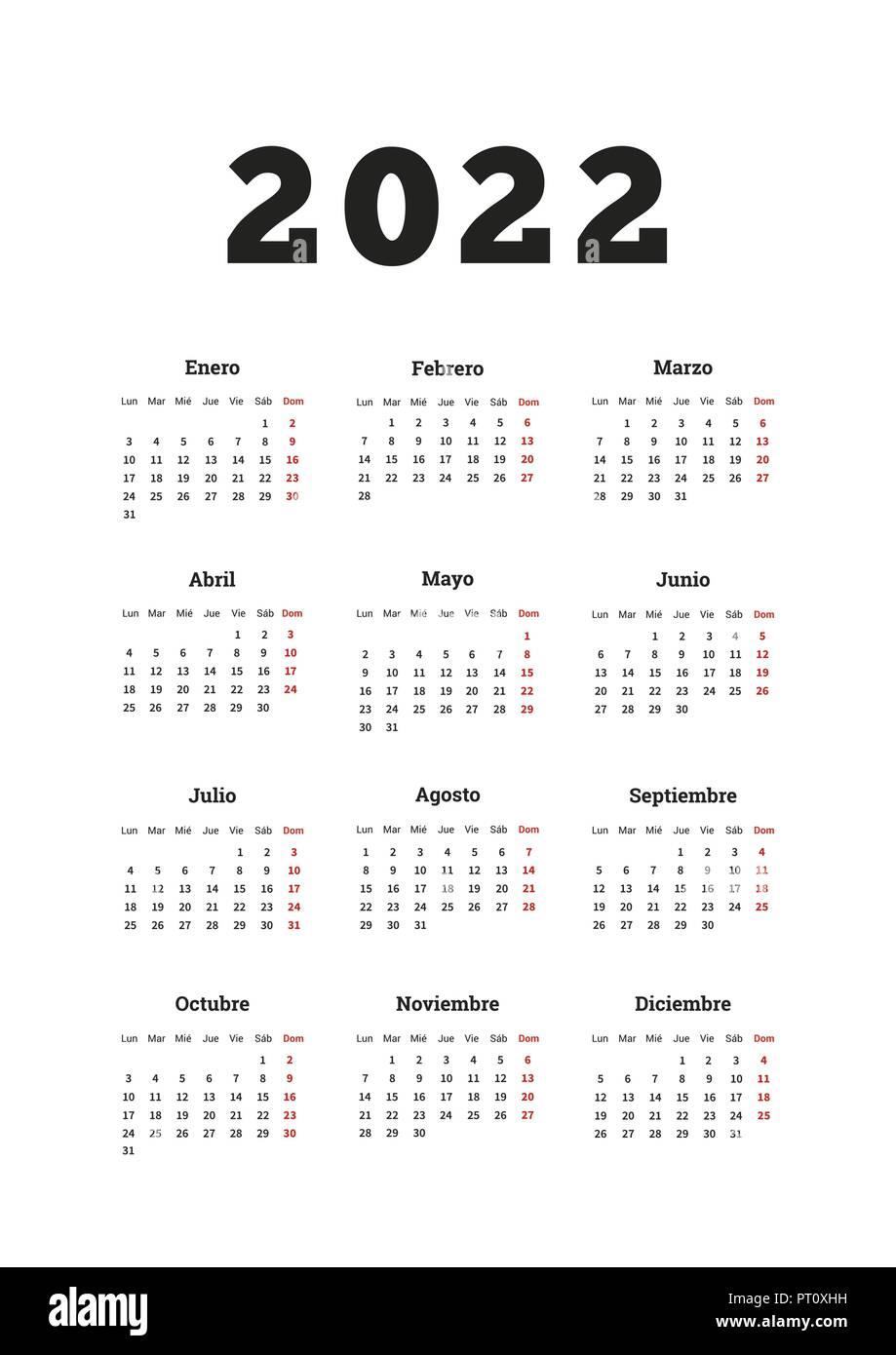 Spanish Calendar 2022.2022 Year Simple Calendar In Spanish A4 Size Vertical Sheet On White Stock Vector Image Art Alamy