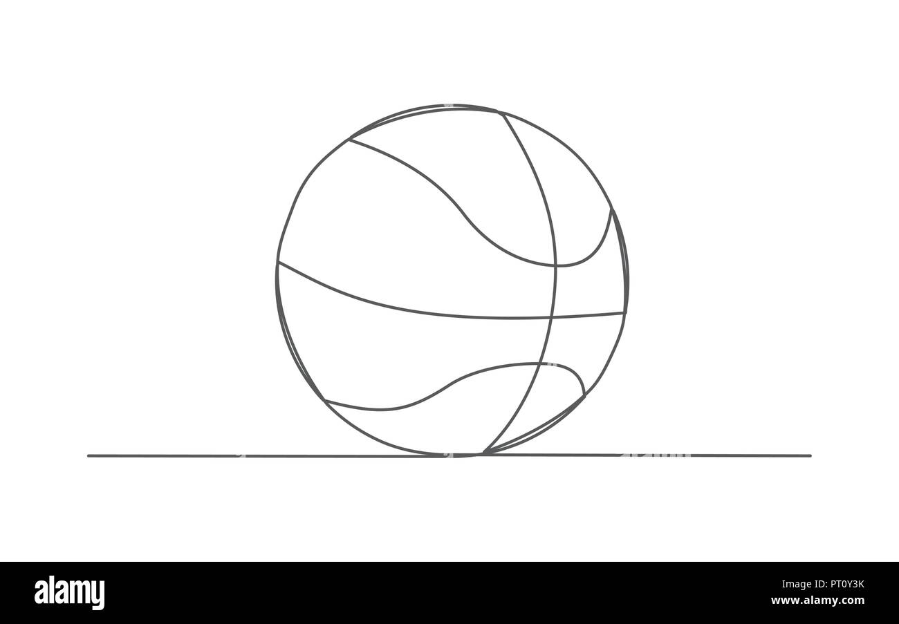 Basketball One line drawing - Stock Image