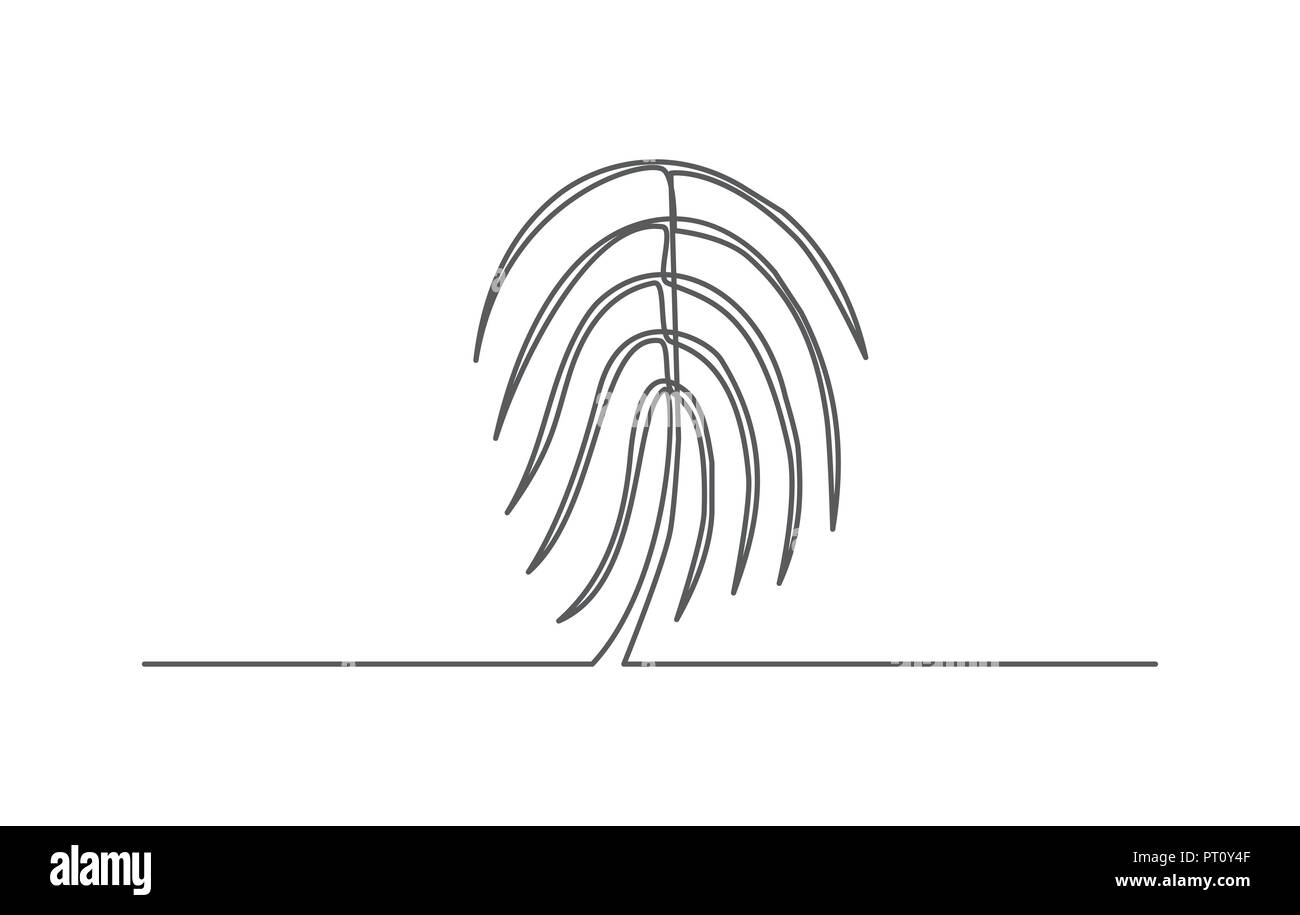 Fingerprint One line drawing - Stock Image