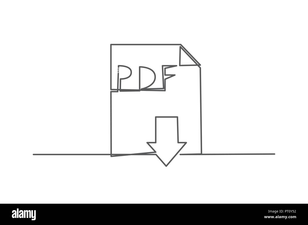PDF One line drawing - Stock Image