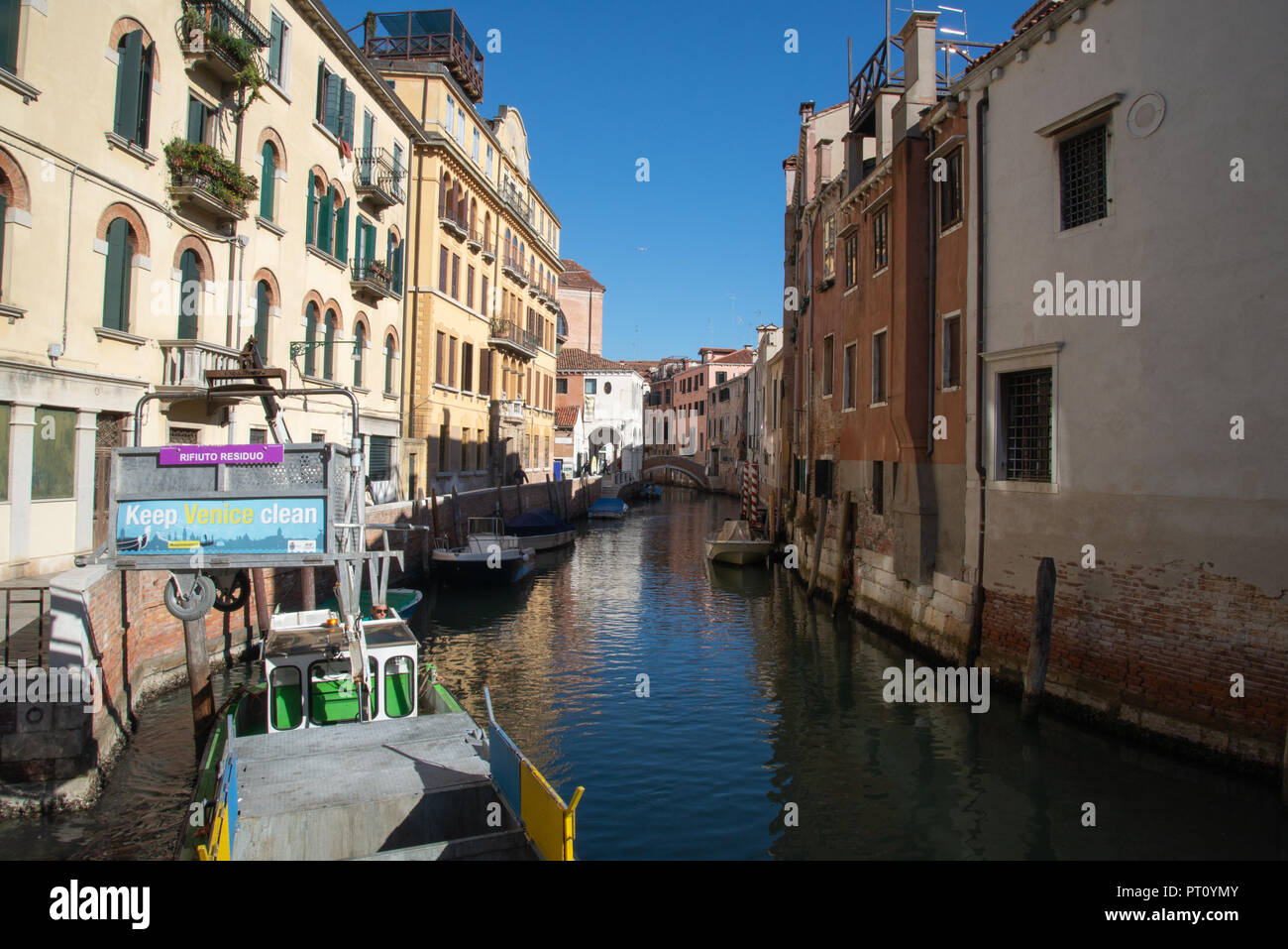 Rubbish collection day in Venice - Stock Image