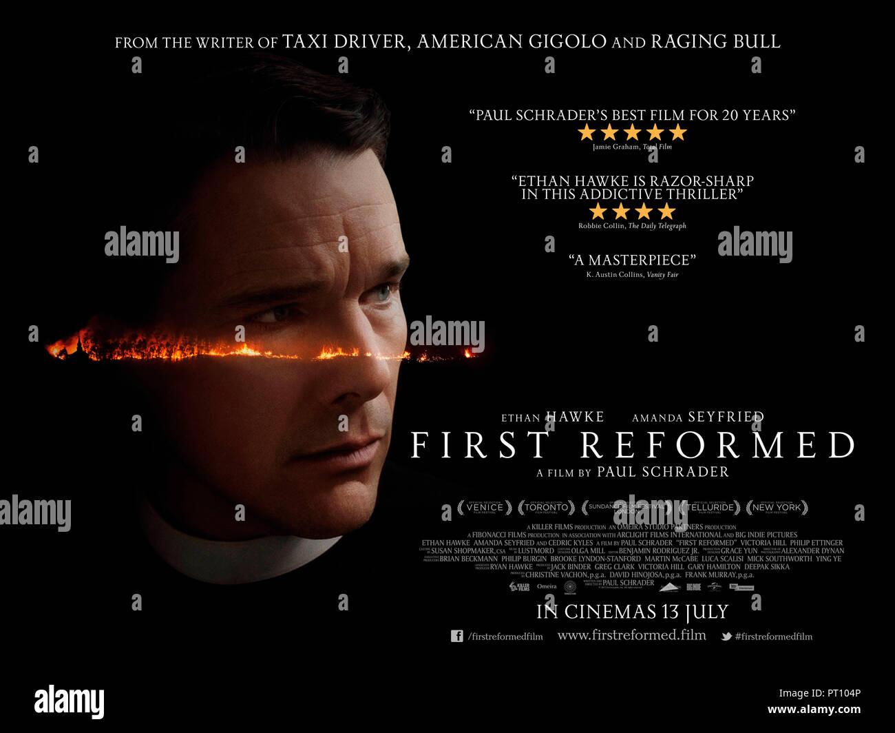 Prod DB © Killer Films - Fibonacci Films - Arclight Films - Omeira Studio Partners / DR FIRST REFORMED de Paul Schrader 2017 USA affiche quad anglaise - Stock Image