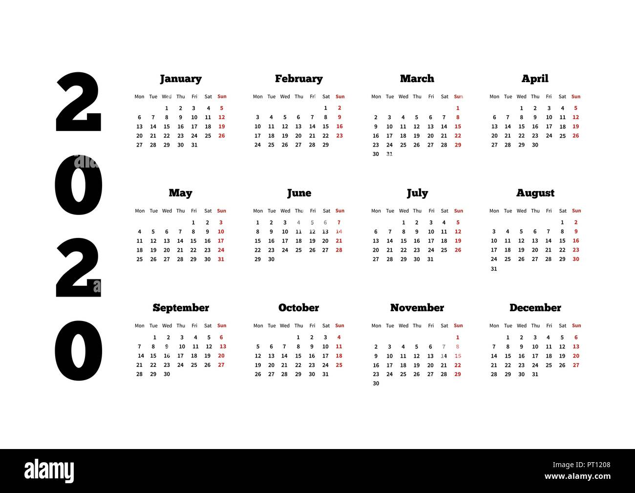 Week By Week Calendar 2020 Calendar on 2020 year with week starting from monday, A4 sheet