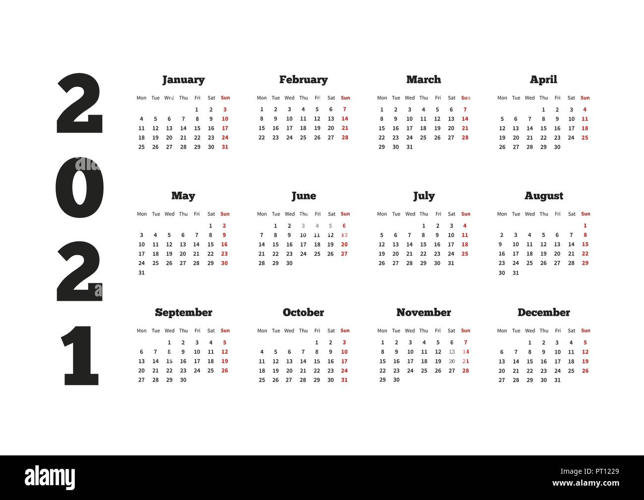 Calendar on 2021 year with week starting from monday, A4 ...