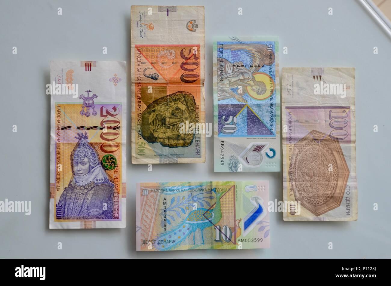 an assortment of macedonian dinar notes - Stock Image