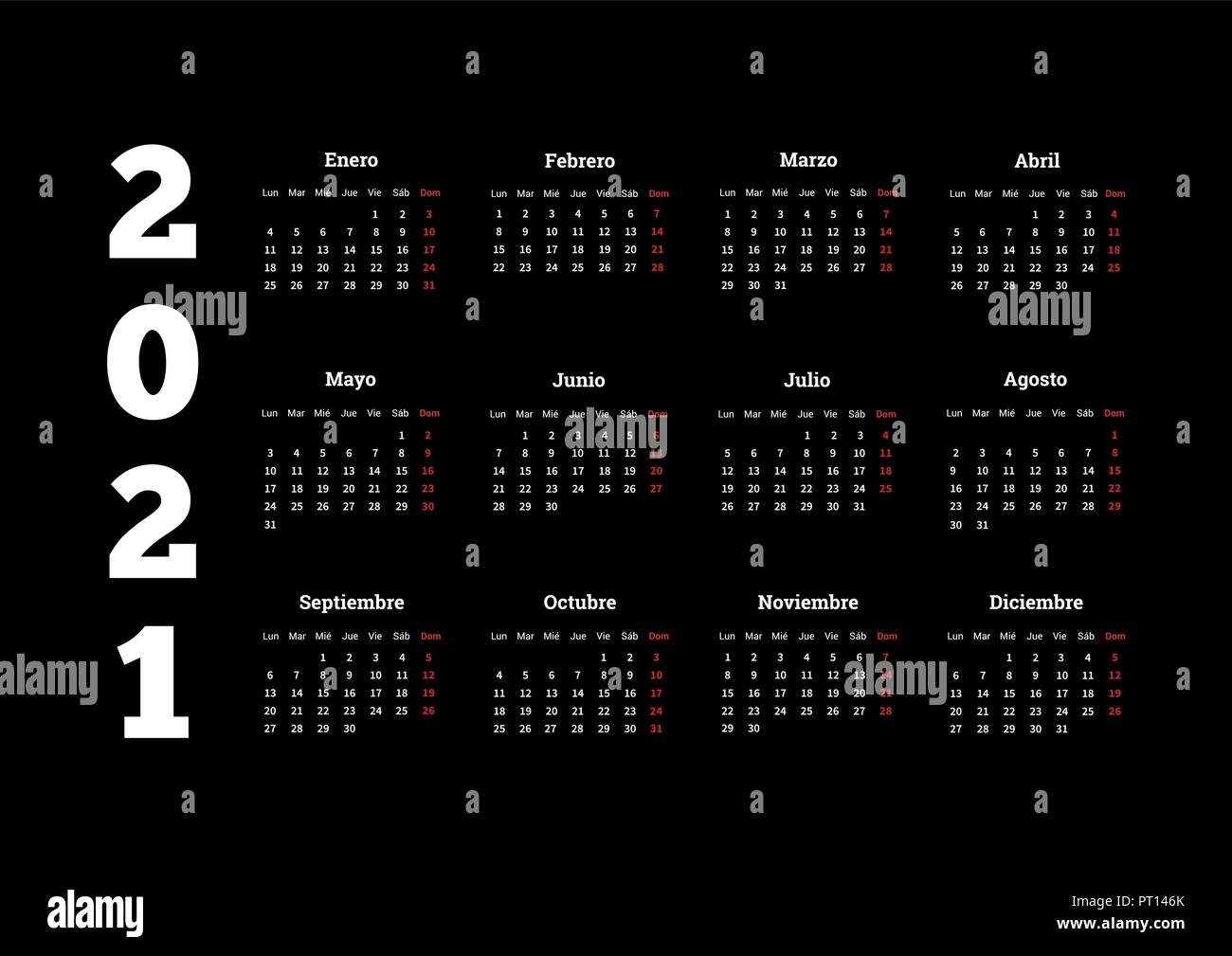 2021 year simple calendar in spanish on black Stock Vector Image