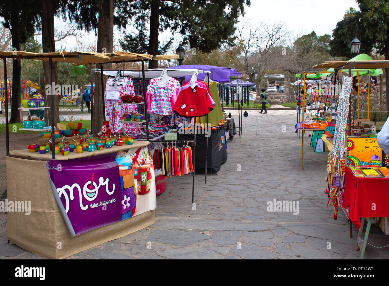 Handcraft market at Plaza San Martín in Villa de las Rosas in Córdoba province - Argentina Stock Photo