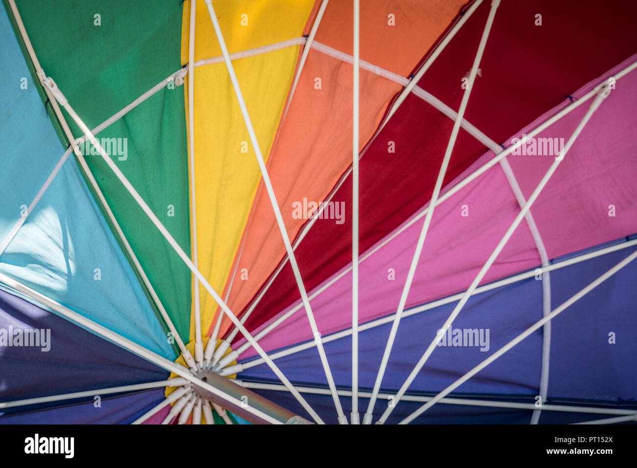 Rainbow colored umbrella, showing the inside of the parasol. Useful for background texture image Stock Photo
