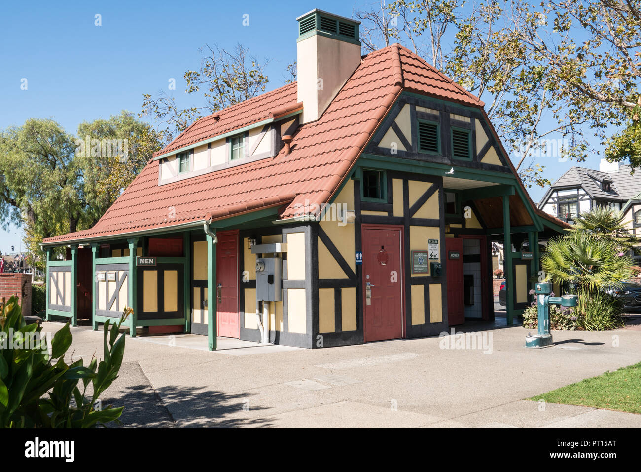 SOLVANG, CA: The public restrooms in Solvang California, a Danish town located in California's Santa Ynez Valley - Stock Image