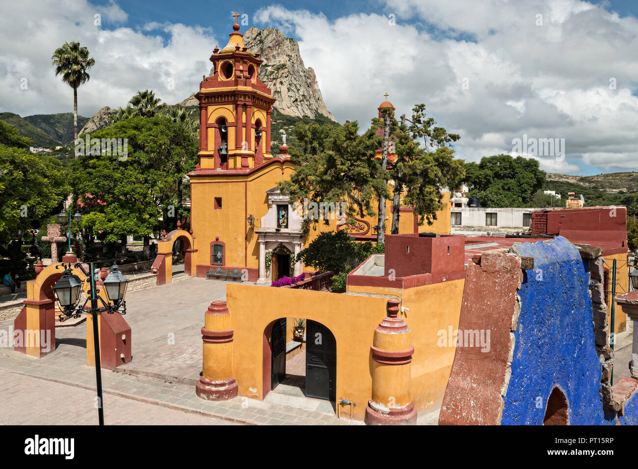 The Parroquia San Sebastian Church With The Massive Monolith Rock
