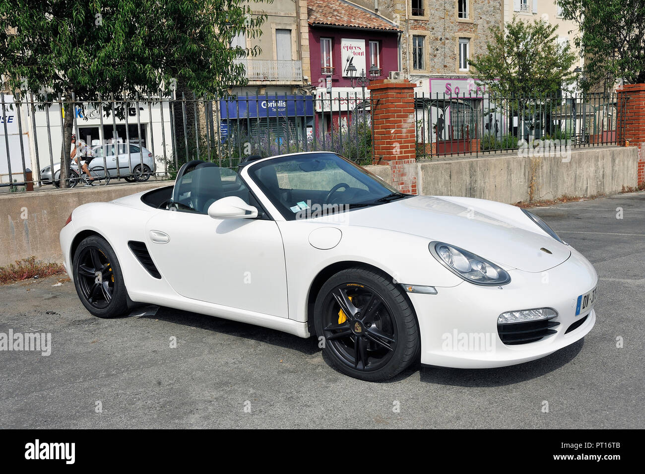 Porsche Convertible White Sports Car On A Parking Lot Of The City Of Ales In The Department Of Gard Stock Photo Alamy