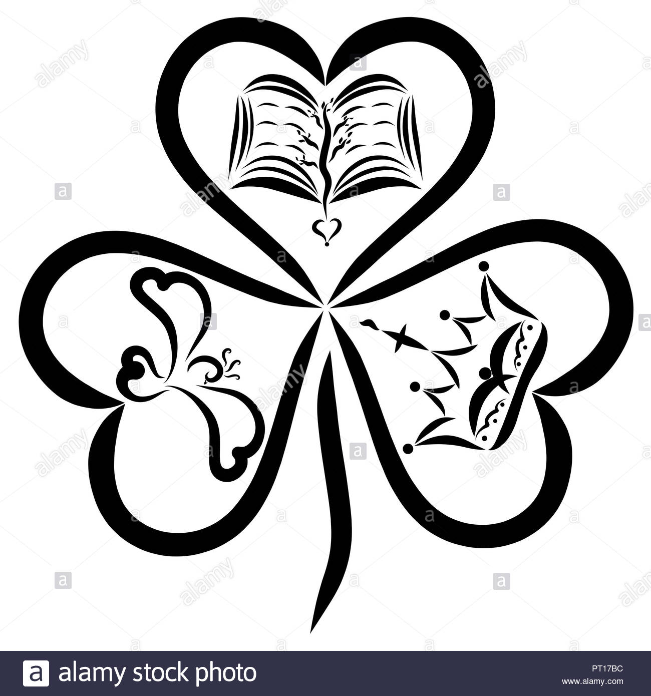Clover with three leaves in the shape of a heart, a crown, a bird and the Bible - Stock Image