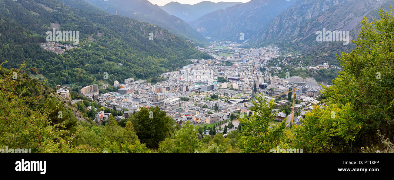 Cityscape in Summer of Andorra La Vella, Andorra. - Stock Image