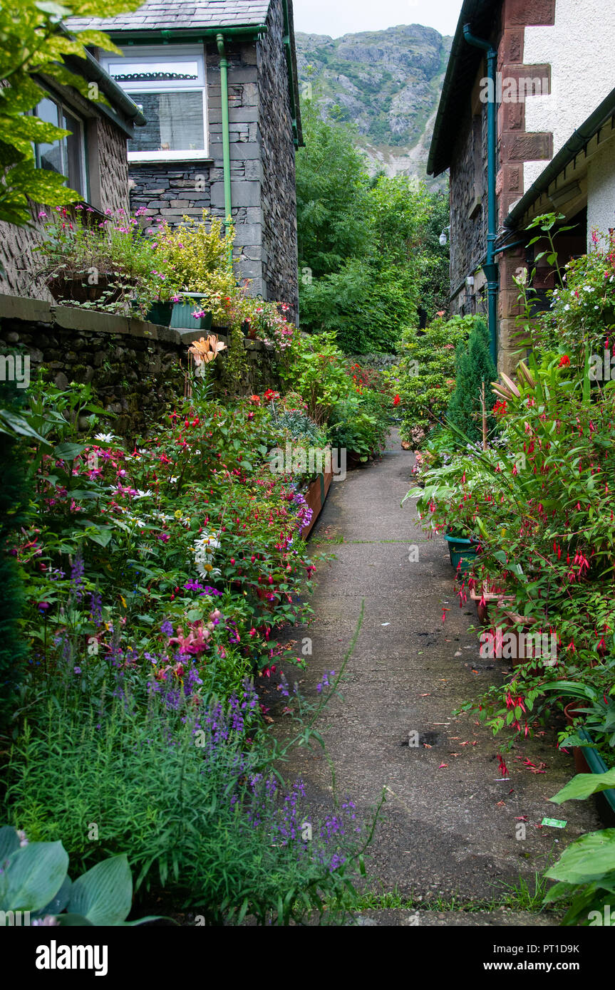 Narrow Flower Bed Lined Path Between Two Houses With Mountains In