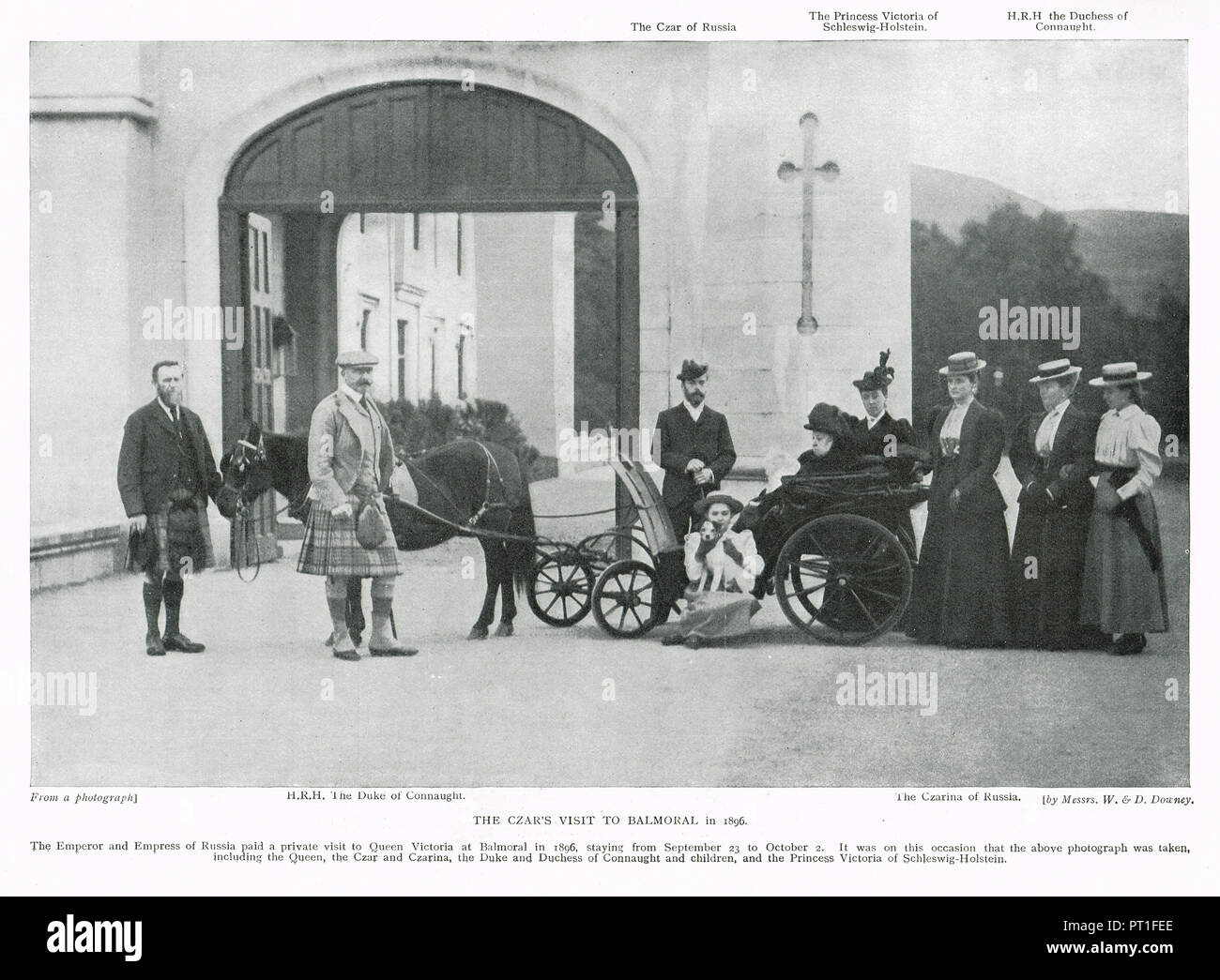 Visit of Tsar Nicholas II (last emperor of Russia) and his wife Alexandra Feodorovna, Alix of Hesse, to Balmoral castle, Scotland, as guests of Queen Victoria, 1896 - Stock Image