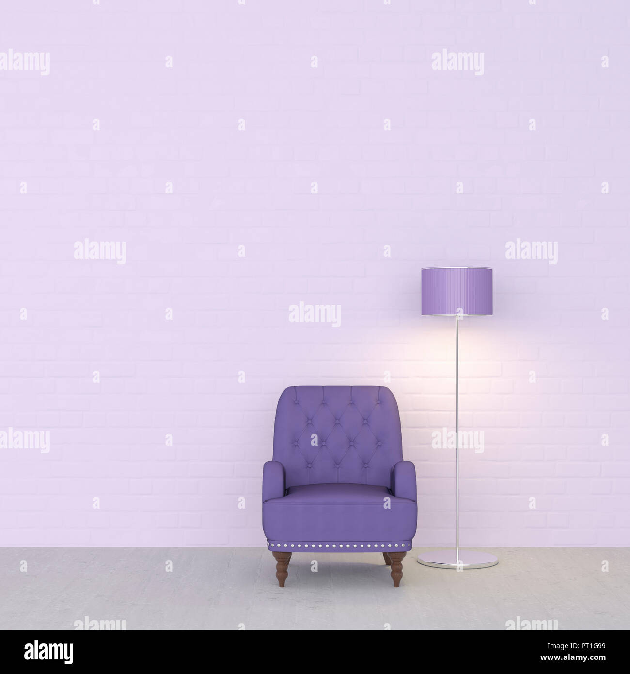 3D Rendering, Purple Armchair And Floor Lamp Against Wall
