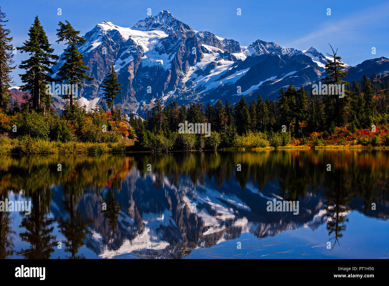 Picture Lake With Autumn Colors And Mount Shuksan In Background Reflected  In Mountain Lake Washington State USA