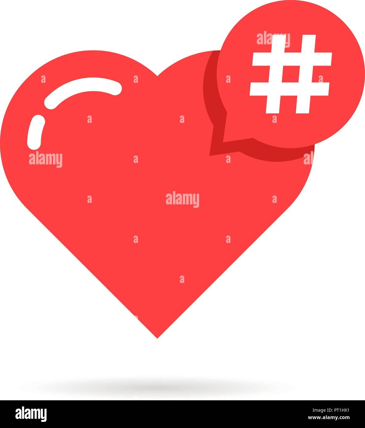 hashtag logo like red heart Stock Vector Art & Illustration