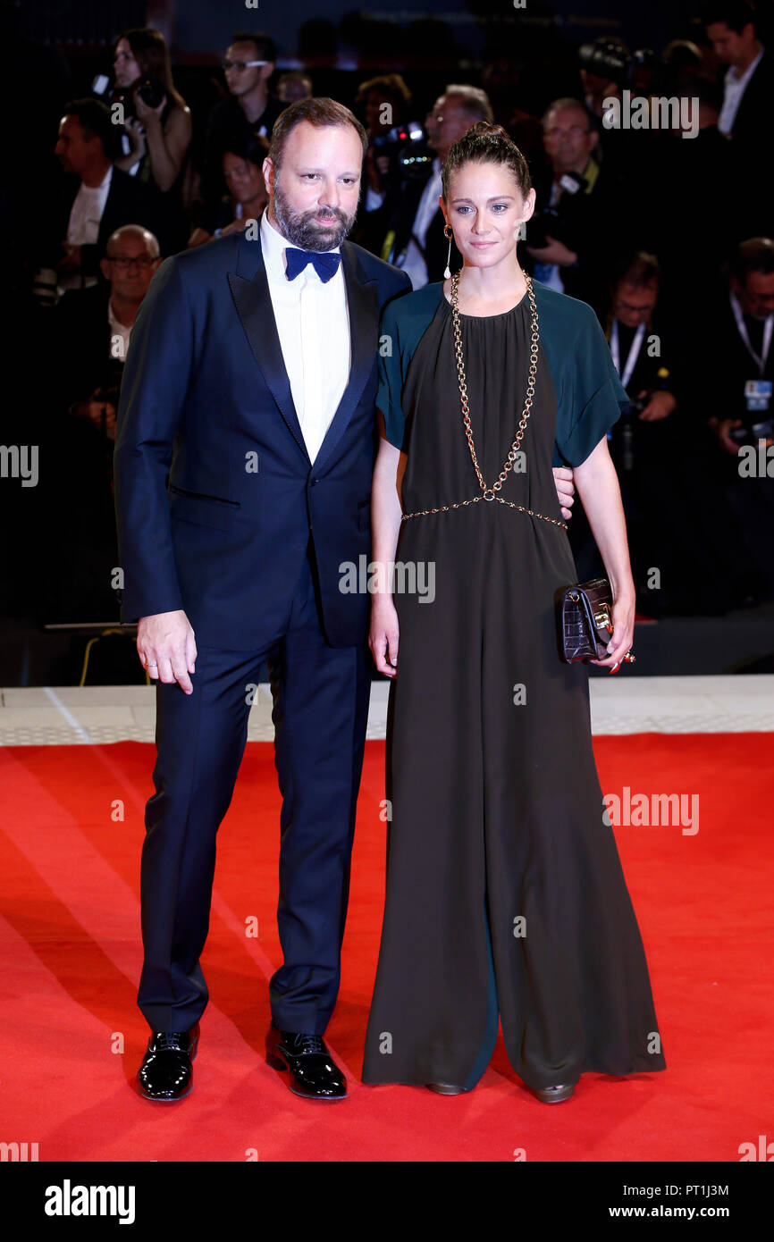VENICE, ITALY - AUGUST 30: Yorgos Lanthimos and Ariane Labed walk the red carpet of the movie 'The Favourite' during the 75th Venice Film Festival on  - Stock Image