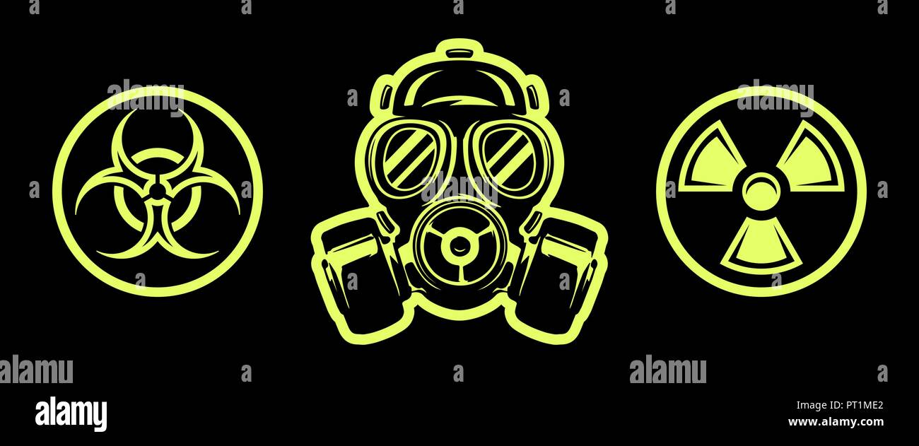 Gas mask and hazard sings isolated on black background. Respirator. Radiation sign. Biohazard sign - Stock Image