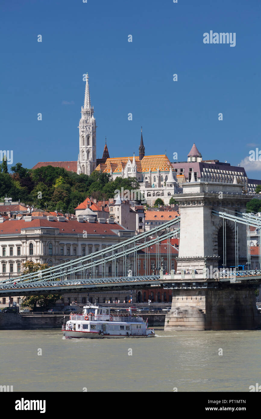 View across Danube to Chain Bridge and Castle Hill with Matthias Church, Fisherman's Bastion and Hilton Hotel, Budapest, Hungary Stock Photo