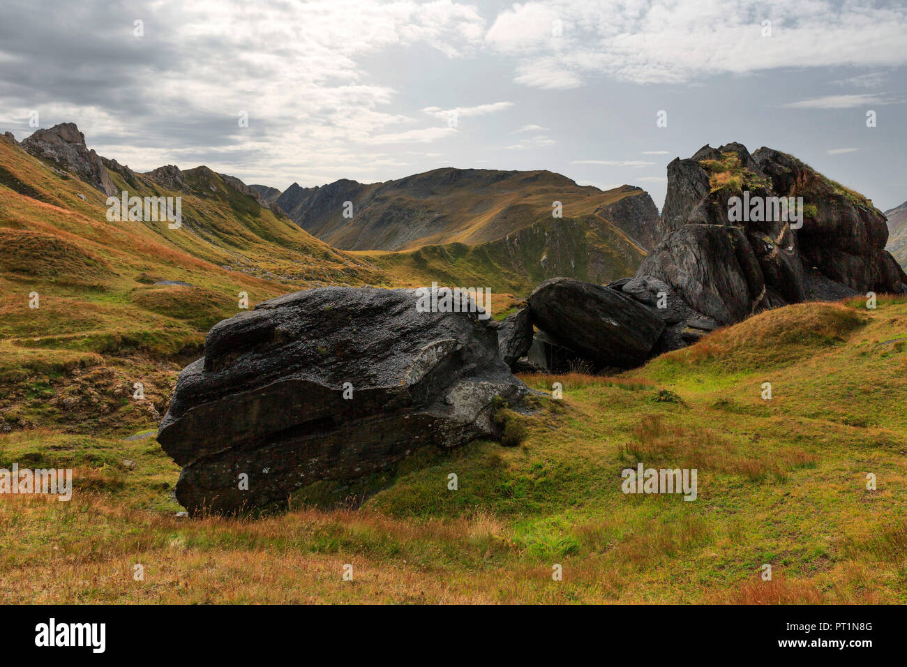 Particular volcanic formations near Passo di Gana Negra, Blenio valley, Canton Ticino, Switzerland, Europe - Stock Image