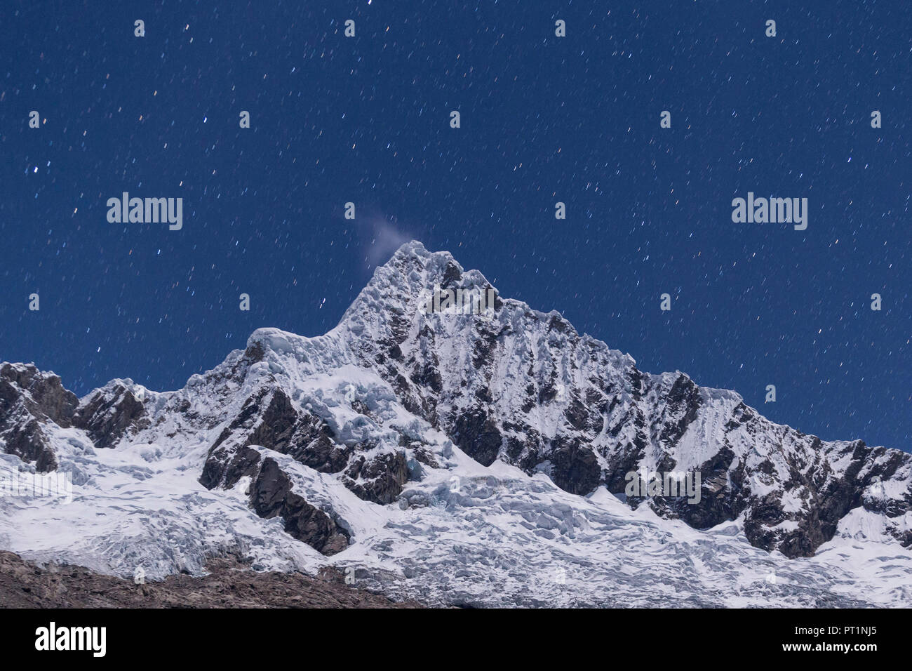 Alpamayo nightscape from Alpamayo base camp, Ancash, Cordigliera Blanca, Peru - Stock Image