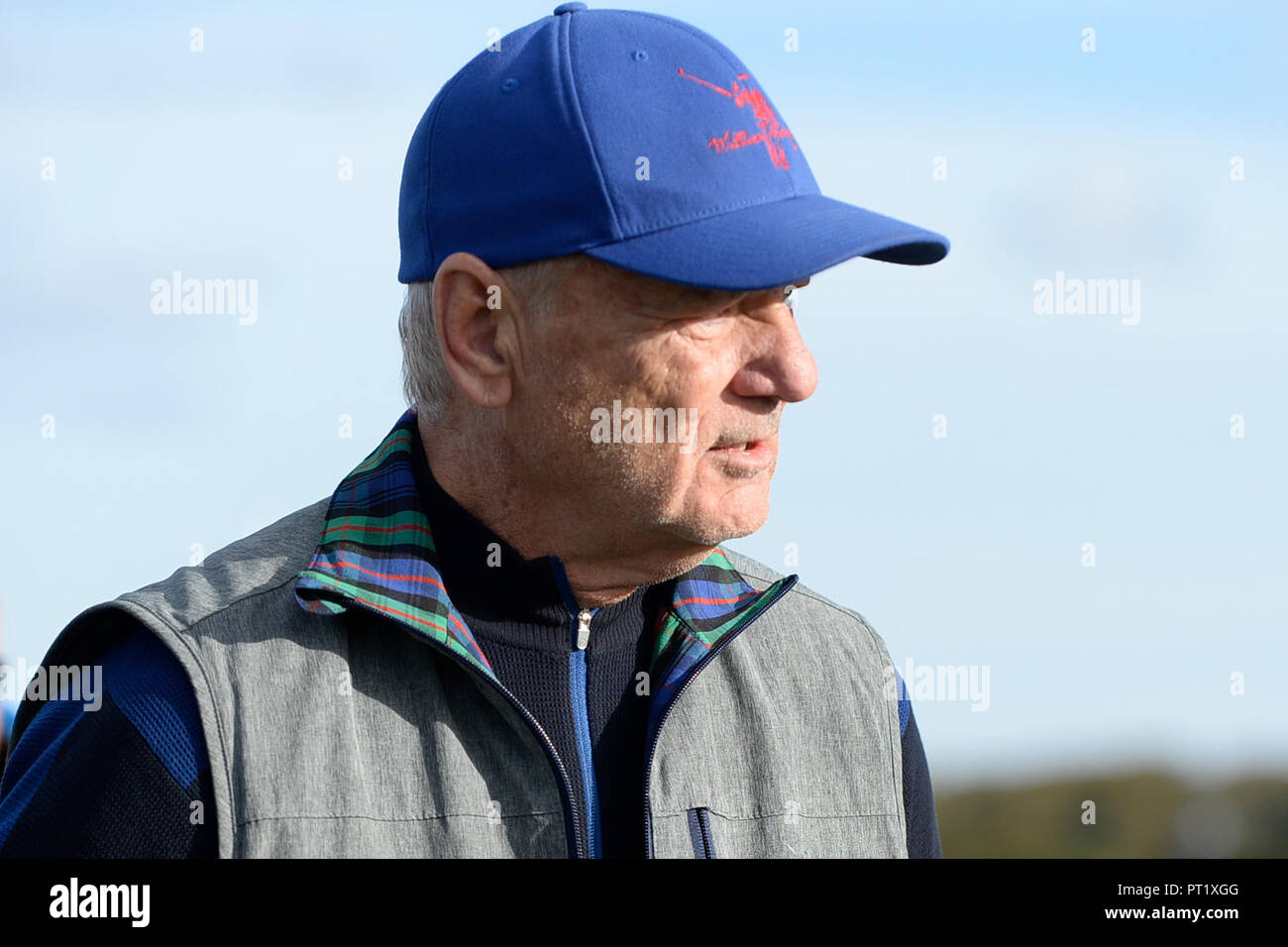 Kingsbarns, Scotland, United Kingdom, 05, October, 2018. Actor Bill Murray at Kingsbarns Golf Links during the Dunhill Links Championship. © Ken Jack / Alamy Live News - Stock Image