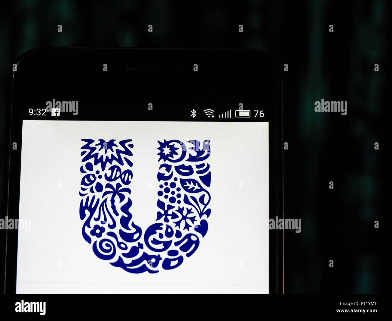 September 27, 2018 - Kiev, Ukraine - Unilever logo seen displayed on smart phone. Unilever is a British-Dutch transnational consumer goods company co-headquartered in London, United Kingdom and Rotterdam, Netherlands. Its products include food and beverages, cleaning agents and personal care products. (Credit Image: © Igor Golovniov/SOPA Images via ZUMA Wire) - Stock Image