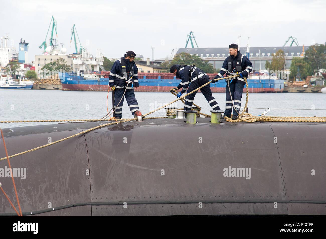 Gdynia, Poland. 05th Oct, 2018. German Type 212A submarine U-31 (S181) of Deutsche Marine (German Navy) arrived to port of Gdynia, Poland. October 5th 2018 © Wojciech Strozyk / Alamy Live News Credit: Wojciech Stróżyk/Alamy Live News - Stock Image