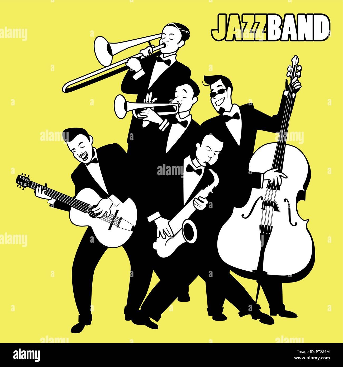 Jazz Band. Five jazz players playing jazz music. Cartoon Style - Stock Image
