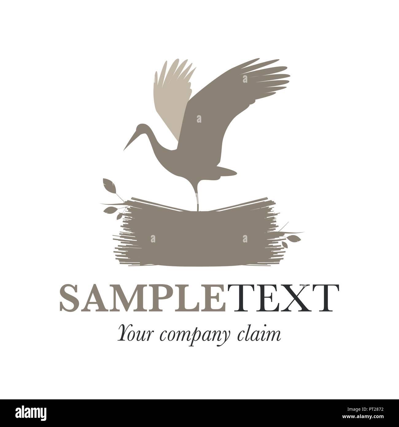 Stork on a nest. Vector Illustration. Good for logo. - Stock Vector