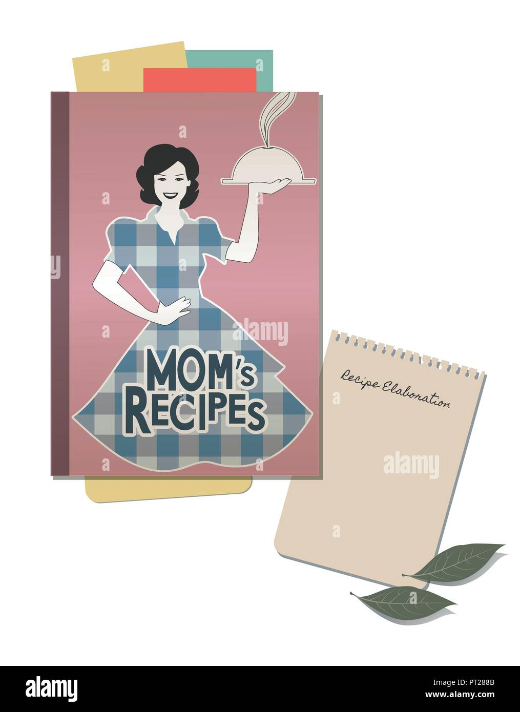 Cookbook retro cover with mom's recipes. Note hand written and bay leaves - Stock Image