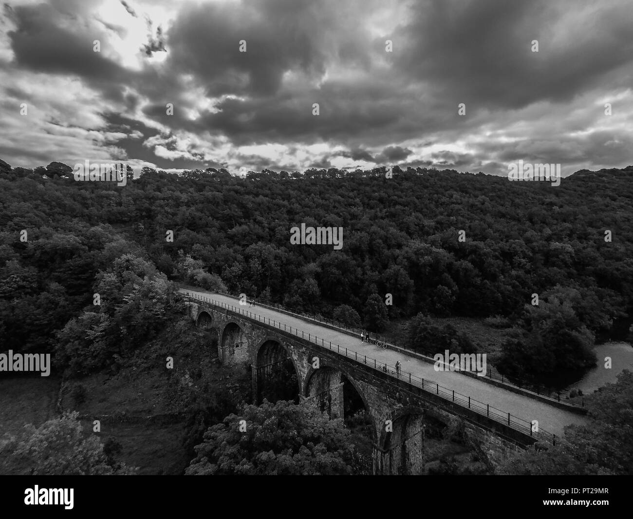 Bakewell, Derbyshire Peak District National Park, the Monsal Trail, Headstone Viaduct, Image 29, Aerial Landscape - Stock Image